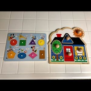 (2) Melissa & Doug Kids Wooden Puzzles